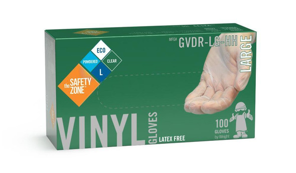 The Safety Zone ® Large Clear Vinyl Gloves Powdered GVDR-LG-HH