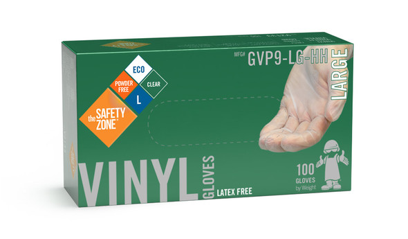 The Safety Zone ® Large Clear Vinyl Gloves Powder Free GVP9-LG-HH