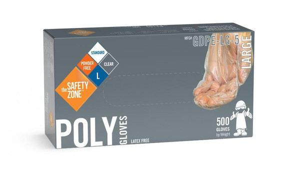 The Safety Zone ® Large Clear Powder Free Poly Gloves GDPE-LG-5