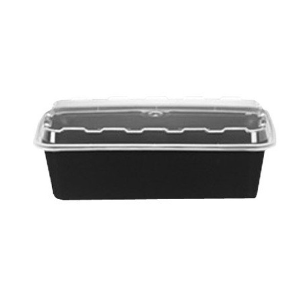 CR-937B CUBE 38 Oz. Black Bottom Rectangle Container (Combo pack: 150 Sets)