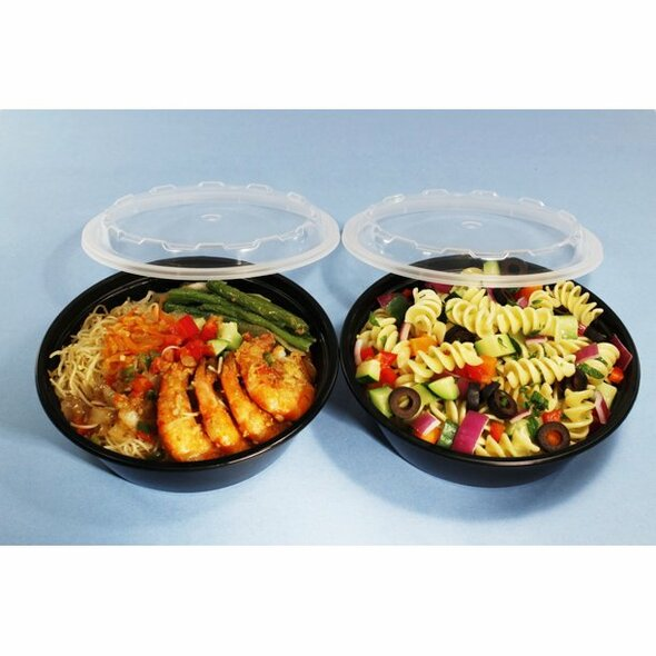 CO-624B CUBE 24 Oz. Black Bottom Round Containers (Combo pack: 150 Sets)
