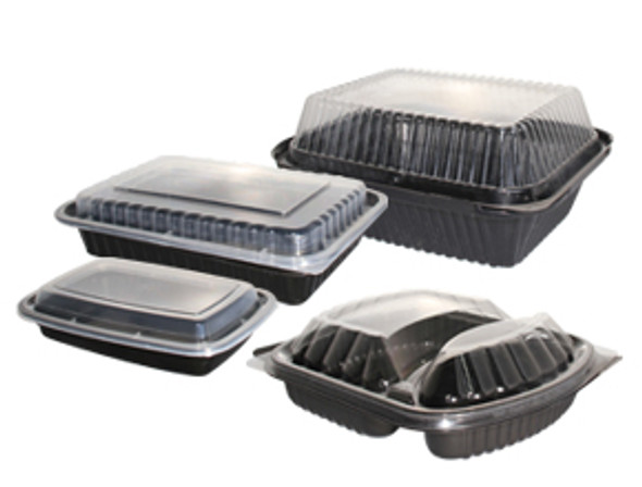 Hotpack 16 Oz. Black Microwave Safe Rectangular Containers BBRE16HP