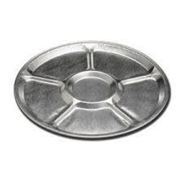 "16"" Round Aluminum 5 Compartment Lazy Susan Tray HFA 2012-80-25"