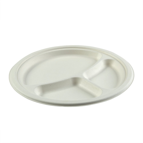 "PL-11 10"" Round 3 Compartment Compostable Plates (500 Pack)"