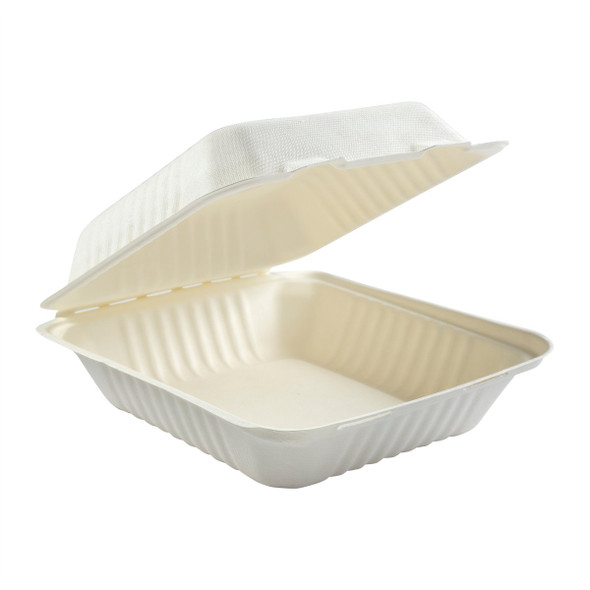 """DHL-81 8"""" Deep Medium 1 Compartment Hinged Compostable Containers 7.875"""" X 8"""" X 3.19"""""""