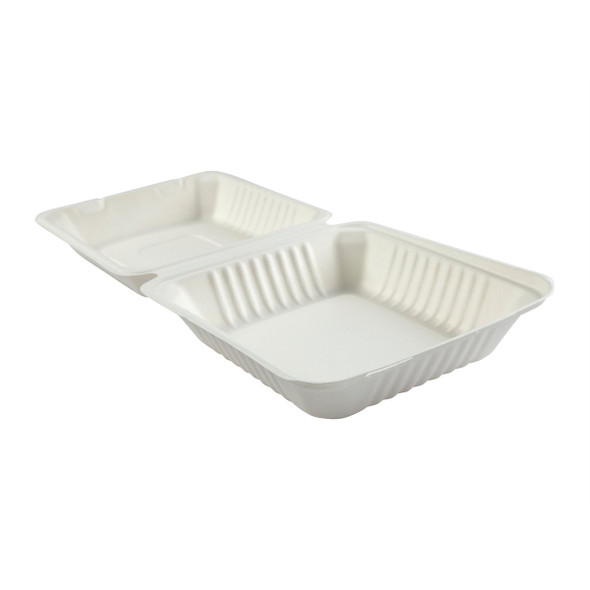 "DHL-81 8"" Deep Medium 1 Compartment Hinged Compostable Containers 7.875"" X 8"" X 3.19"""