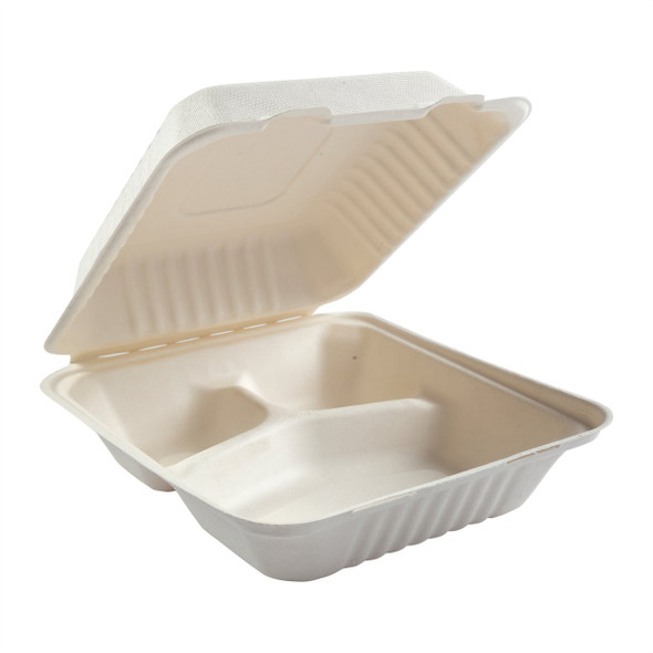 """DHL-83 8"""" Deep Medium 3 Compartment Hinged Compostable Containers 7.875"""" X 8"""" X 3.19"""""""
