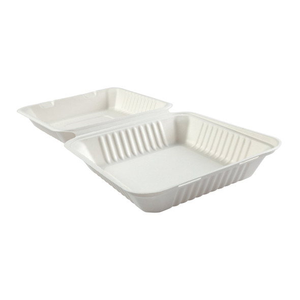 "HL-91 9"" Deep Large 1 Compartment Hinged Compostable Containers 7.875"" X 8"" X 3.19"""