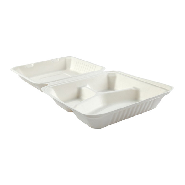 "HL-93 9"" Deep Large 3 Compartment Hinged Compostable Containers 7.875"" X 8"" X 3.19"""