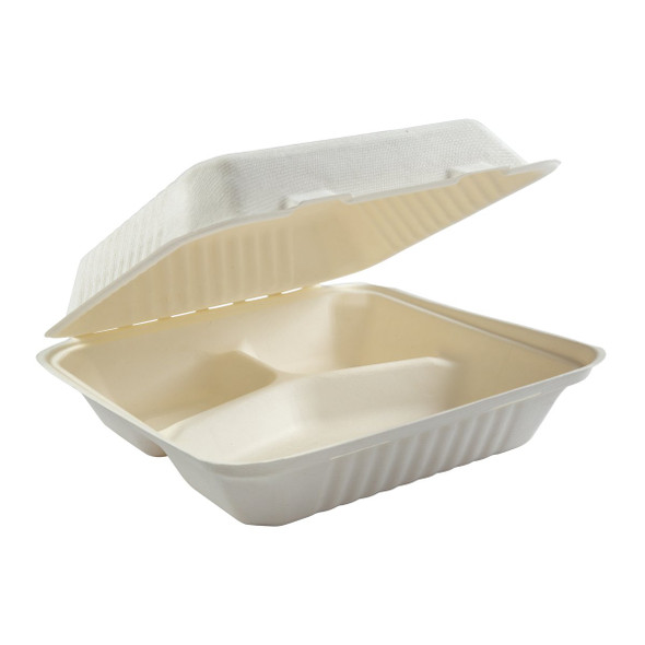 """HL-93 9"""" Deep Large 3 Compartment Hinged Compostable Containers 7.875"""" X 8"""" X 3.19"""""""