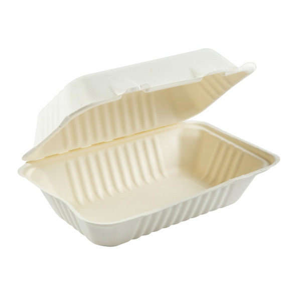 """HL-96 Hoagie Hinged Compostable Containers 9"""" X 6"""" (250 Pack)"""