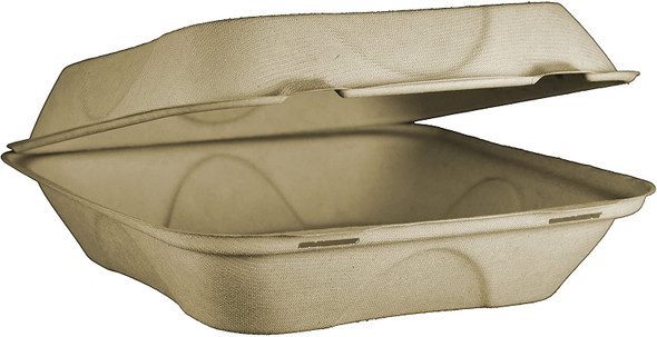 """TO-SC-U9  Large 1 Compartment Fiber Compostable Container 9"""" x 9"""" x 3"""""""