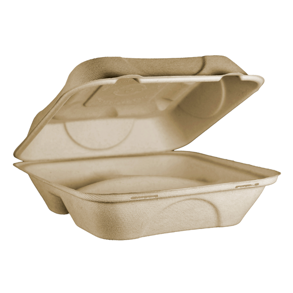 """TO-SC-U9T Large 3 Compartment Fiber Compostable Container 9"""" x 9"""" x 3"""""""