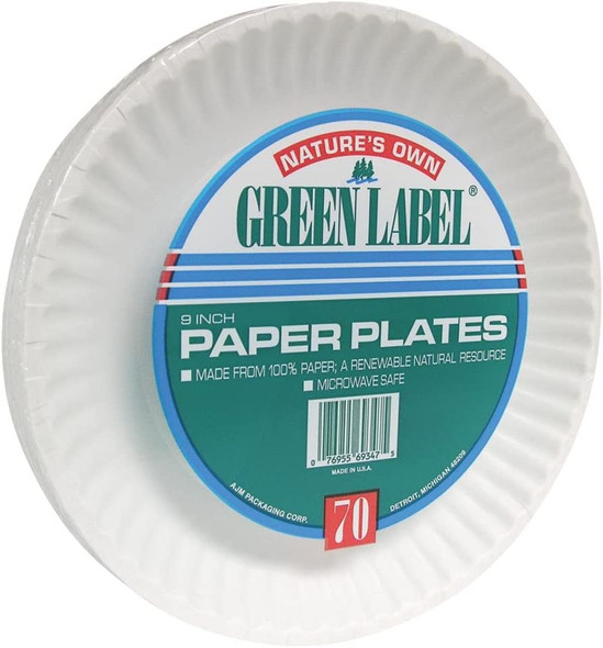 """9"""" Nature's Own Green Label Paper Plates 24/50 Count (1200 Pack)"""