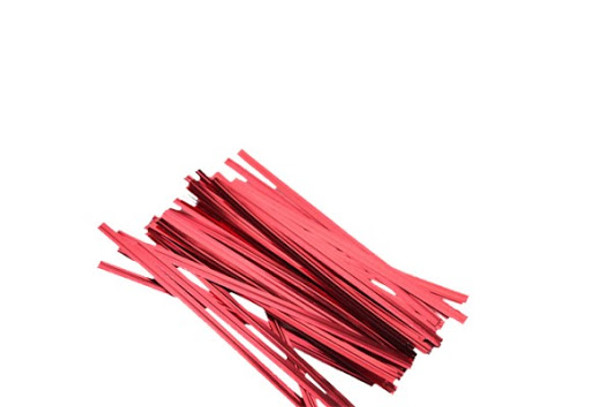 "4"" x 1/4"" Red Twist Ties"