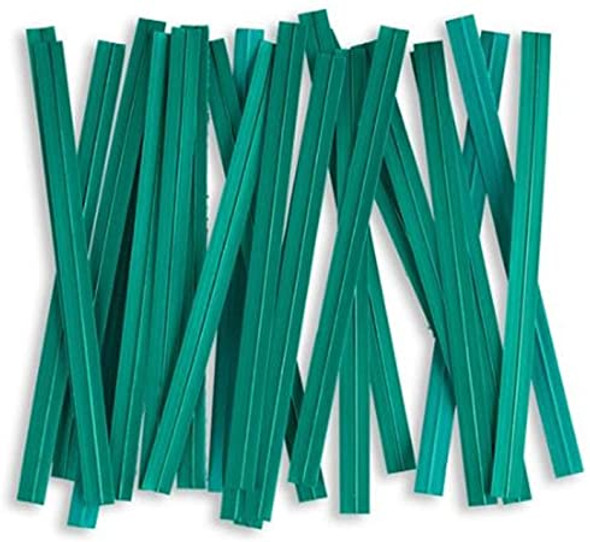 "4"" x 1/4"" Green Twist Ties"