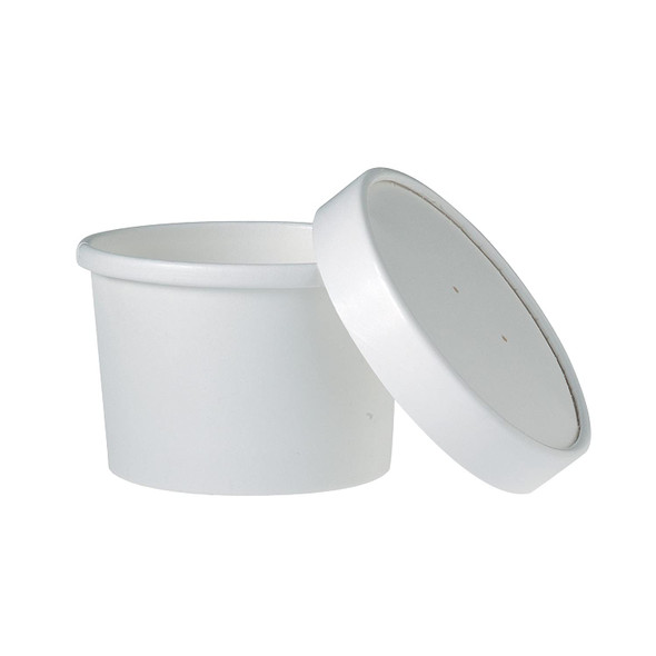 Dart 8 Oz. Hot White Paper Soup Cups KHB8A-2050 (Combo Pack: 250 Cups/250 Lids)