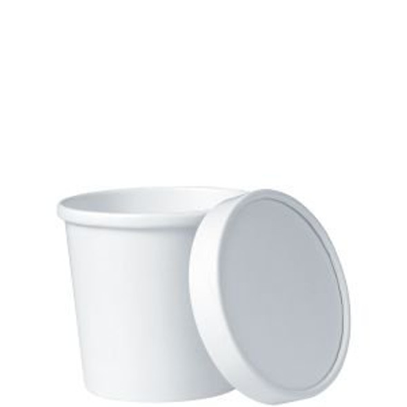 Dart 12 Oz. Hot White Paper Soup Cups KHB12A-2050 (Combo Pack: 250 Cups/250 Lids)
