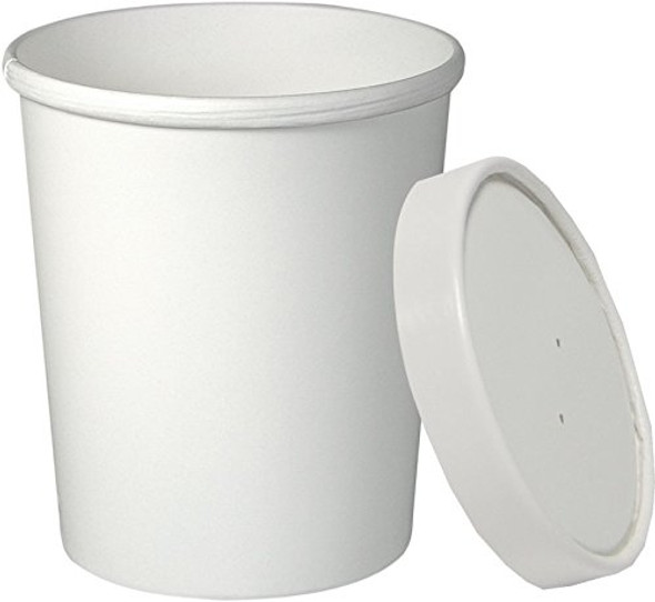 Dart 32 Oz. Hot White Paper Soup Cups KHB32A-2050 (Combo Pack: 250 Cups/250 Lids)
