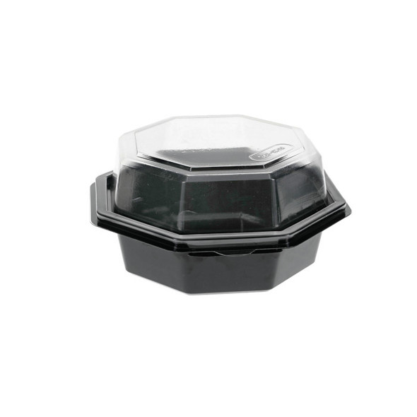 18 Oz. Octagon Black Hinged Container W/ Clear Lid Pactiv 12095