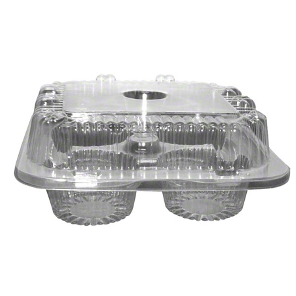 LBH-6404 4 Count Clear Plastic Cupcake/Muffin Containers 6.75 x 6.75 x 2.75 in.