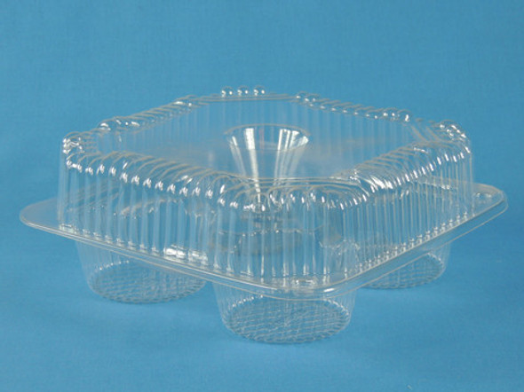 LBH-8204 4 Count Clear Plastic Cupcake/Muffin Container 8 3/16 x 8 3/16 x 3 in.