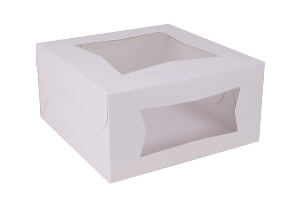 12 x 12 x 5 White Bakery Box w/ Window 23073