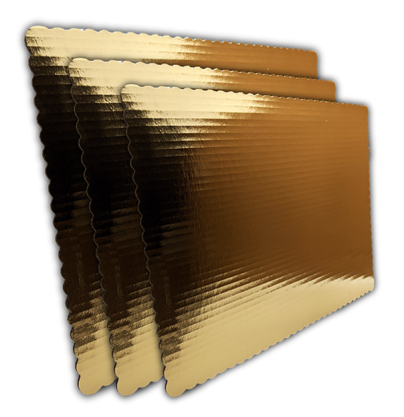 "14"" x 10""  1/4 Sheet Corrugated Gold Scalloped Board"
