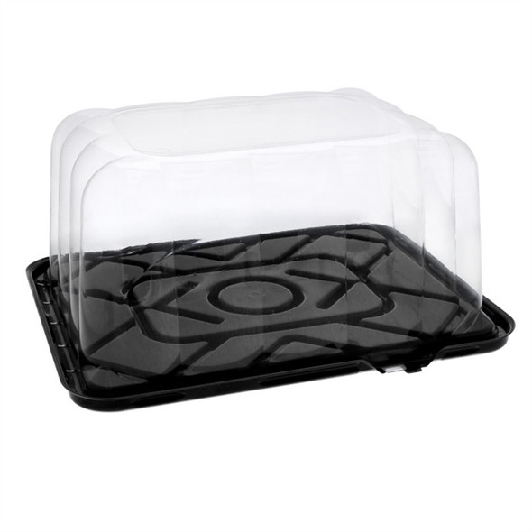 """1/8 Sheet Black Cake Container w/ 5"""" High RoseDome Lid Combo Pack YESB500RTAB"""