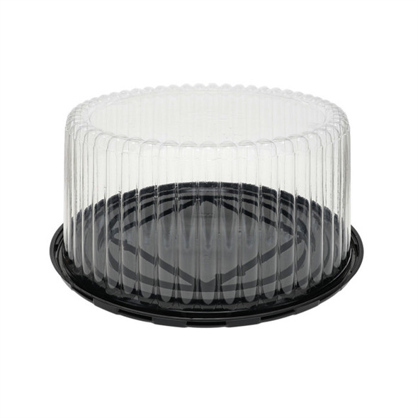 """10"""" High Dome Cake Container w/ Fluted Black Base Combo 11B50"""