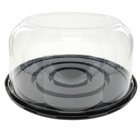"""YCB11BR525R 9"""" Black Base Cake Container w/ 5.25"""" High Rose Dome"""