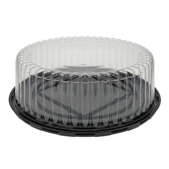 "11B35 9"" Black Base Cake Container w/ Fluted Dome Lid"