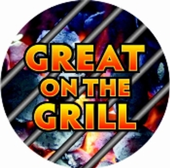 "GREAT ON THE GRILL RED/BLK 2"" CIRCLE  10067"