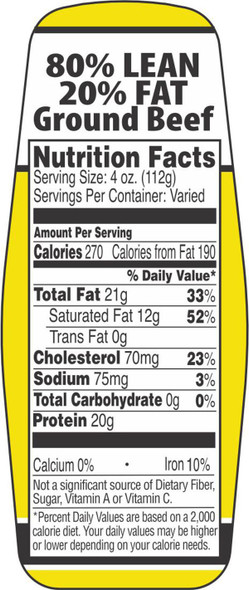 80%/20% GROUND CHUCK NUTRITION FACTS LABELS 10561