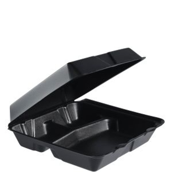 """95HTB3 Dart Black Foam Carry Out Container 9.5"""" x 9.3"""" x 3"""" 3 Compartment"""