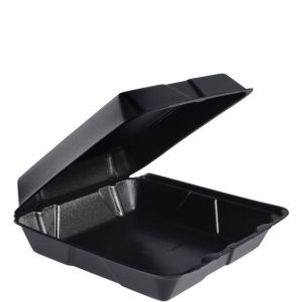 """95HTB1R Dart Black Foam Carry Out Container 9.5"""" x 9.3"""" x 3"""" 1 Compartment"""