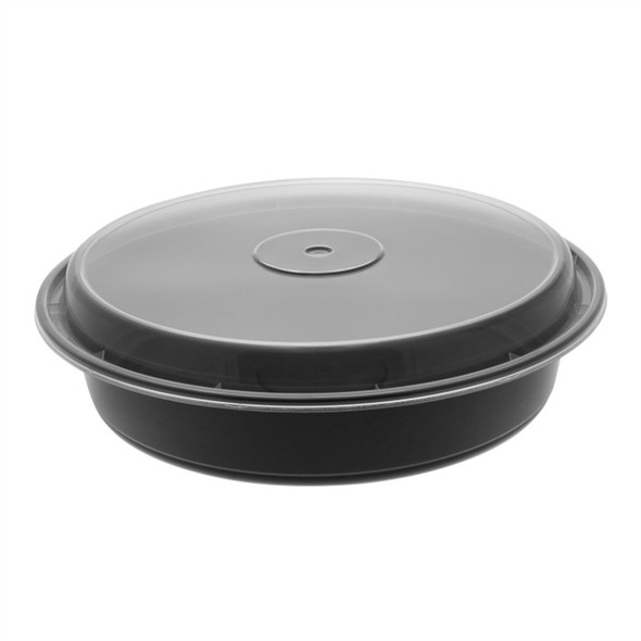 NC948B Newspring 48 Oz. Black Round Microwave Safe Containers (150 Cont./150 Lids)
