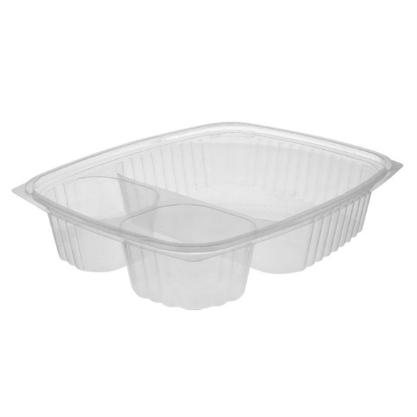 """YC185430 3 Compartment Clear Plastic """"Nacho"""" Containers"""