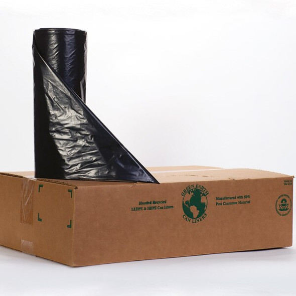 Noramco R404816K 45 Gallon Black Trash Bag Liner - 40 x 48 in. 16 Micron
