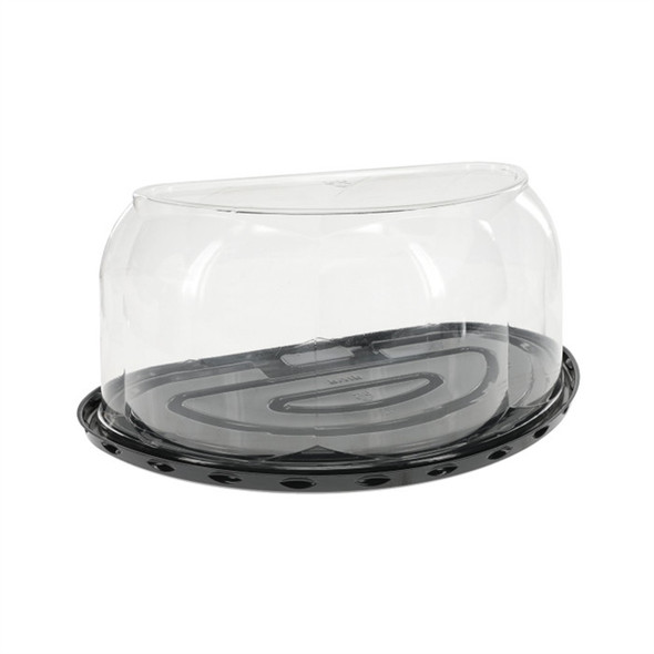 "8"" Half Cake Black Base Container W/5.25"" Rose Dome Lid"