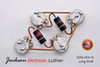 Les Paul Wiring Harness Amber Varnish Insulation CTS 525k LONG Shaft Emerson Bumblebees .015uF/.022uF