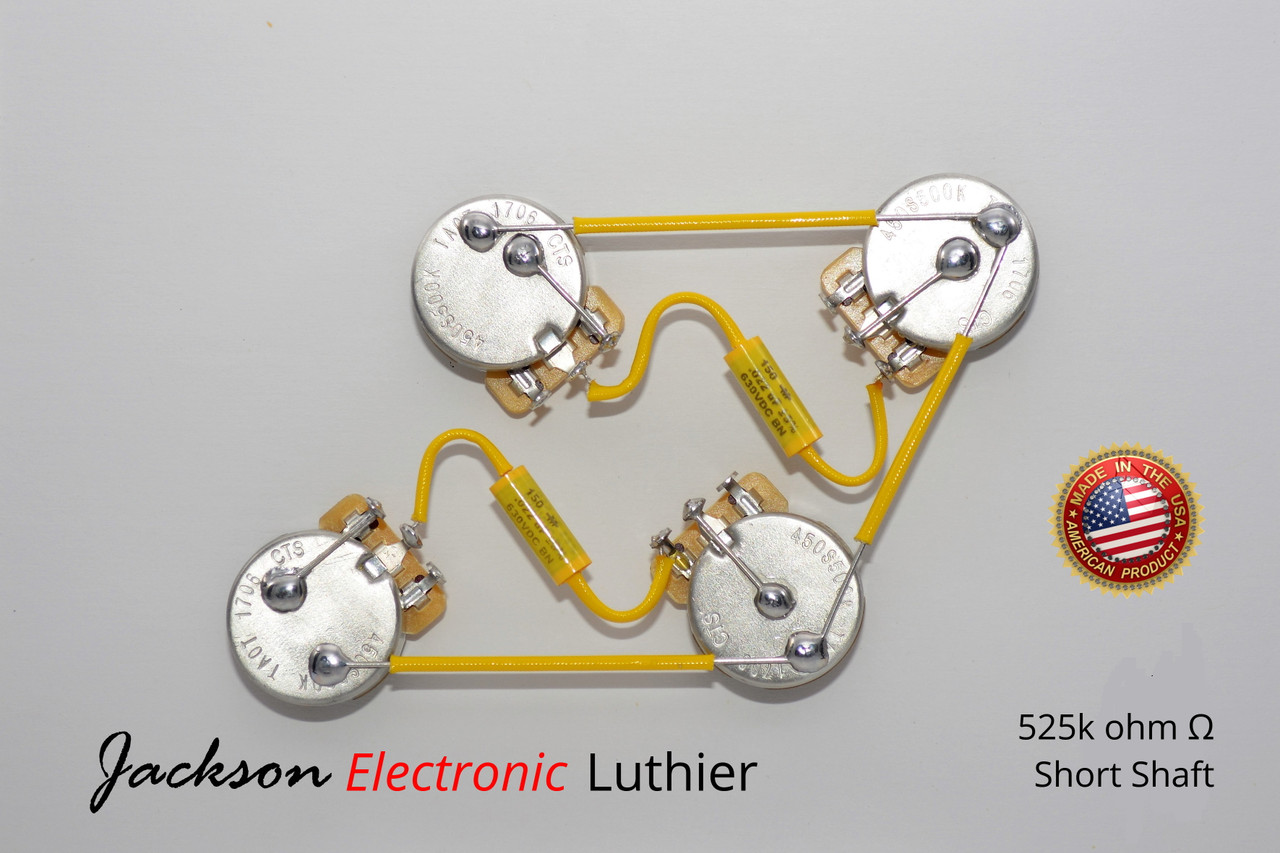 Les Paul Wiring Harness 525k CTS SHORT Shaft Mallory 150 . 022 uF Les Paul S Wiring Harness on gibson les paul wiring harness, les paul guitar wiring kit, les paul pickup wiring, les paul pot wiring,