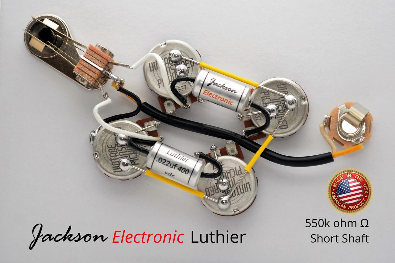 sg wiring harness custom prewired by jel 550k centralab spec vip pots jel  custom pio .022uf  jackson electronic luthier