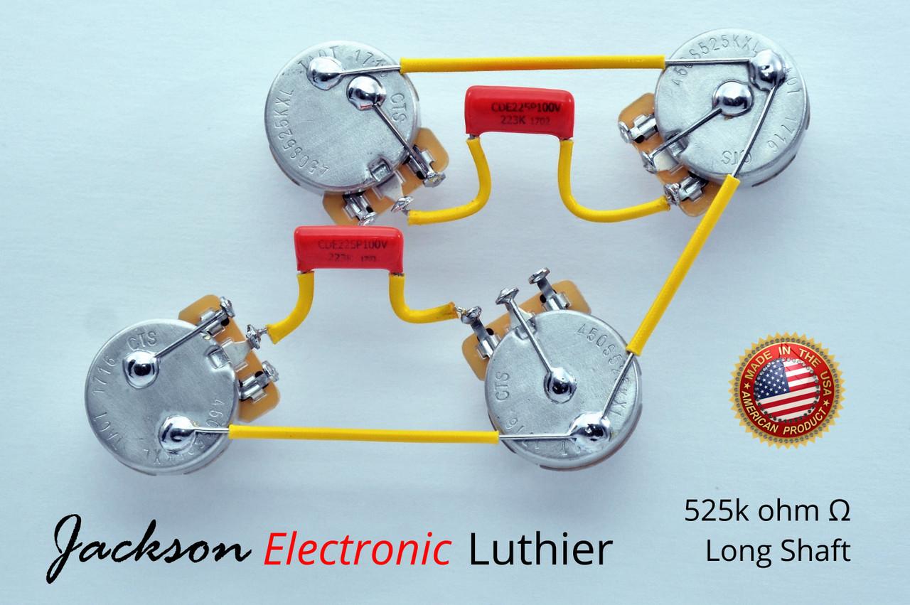 Les Paul Wiring Harness Custom 525k Cts Long Shaft 716p 400vdv 022 Uf Caps