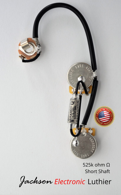 Les Paul Wiring Harness for Jr Custom by JEL 525k CTS SHORT Shaft Vitamin Q Sprague .022 uF
