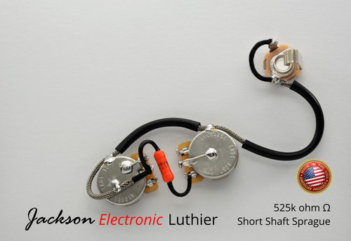 Les Paul Jr ® 50s Style Wiring Harness Sprague 192P Orange Drop .022uF Caps CTS TAOT 525k Short Shaft Audio Pots
