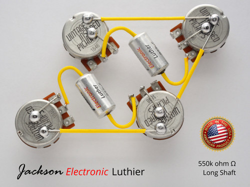 Les Paul Wiring Harness Custom by JEL 550k VIPots Centralab Spec LONG .022 uF Custom PIO Capacitors
