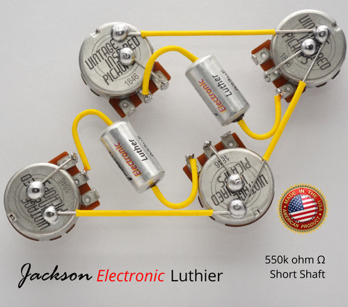 Les Paul Wiring Harness Custom by JEL 550k VIPots Centralab Spec SHORT .022 uF Custom PIO Capacitors