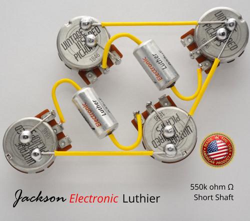 Les Paul Wiring Harness Custom by JEL 550k VIPots Centralab Spec SHORT .022 uF Custom PIO Capacitors