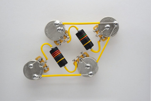 Les Paul® Type Wiring Harness 50s Style Wiring Harness Emerson® Bumblebee PIO .022uF Caps CTS TAOT 525k Short Shaft Audio Pots. Yellow Varnish Spaghetti Tubing